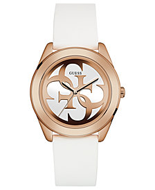 GUESS Women's Logo White Silicone Strap Watch 40mm