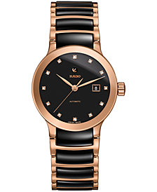 Rado Women's Swiss Automatic Centrix Diamond-Accent Black Ceramic & Rose Gold-Tone PVD Stainless Steel Bracelet Watch 28mm