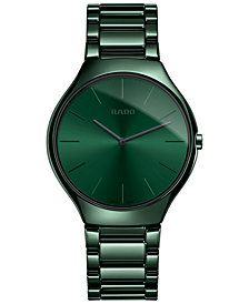 Rado Unisex Swiss True Thinline Green Ceramic Bracelet Watch 39mm