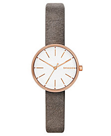 Skagen Women's Signatur Gray Leather Strap Watch 30mm