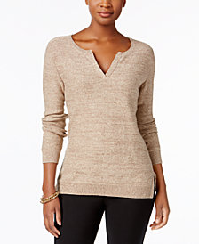 Karen Scott Cotton Split-Neck Sweater, Created for Macy's