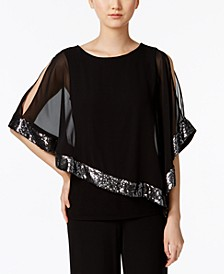 Sequined Chiffon Asymmetrical Blouse