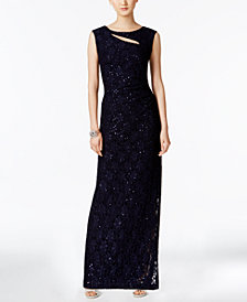 Connected Cutout Sequined Lace Gown