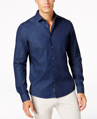 michael kors men 39 s denim shirt created for macy 39 s casual button down shirts men macy 39 s. Black Bedroom Furniture Sets. Home Design Ideas