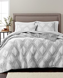 CLOSEOUT! Martha Stewart Collection Gramercy Gate Grey 100% Cotton Quilt and Sham Collection, Created for Macy's