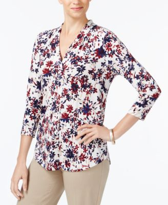 Image of Charter Club Printed V-Neck Top, Created for Macy's