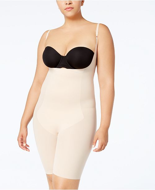 9cb55877587 ... SPANX Women's Plus Size Thinstincts Open-Bust Mid-Thigh Bodysuit ...