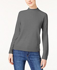 Petite Luxsoft Zip-Back Mock-Neck Sweater, Created for Macy's