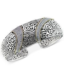 Balissima by EFFY® Diamond (5/8 ct. t.w.) Swirl Pattern Hinged Cuff Bracelet in Sterling Silver & 18k Gold