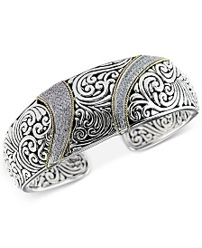 Balissima by EFFY® Diamond (5/8 ct. t.w.) Swirl Pattern Hinged Cuff Bracelet in Sterling Silver & 18k Gold