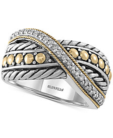 Balissima by EFFY® Diamond Two-Tone Crisscross Ring (1/10 ct. t.w.) in Sterling Silver & 18k Gold