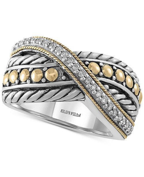 EFFY Collection Balissima by EFFY® Diamond Two-Tone Crisscross Ring (1/10 ct. t.w.) in Sterling Silver & 18k Gold