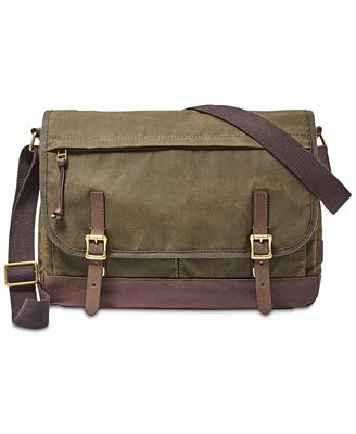 fossil mens waxed canvas defender messenger bag all