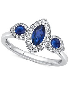 Sapphire (3/4 ct. t.w.) & Diamond (1/6 ct. t.w.) Ring in 14k White Gold