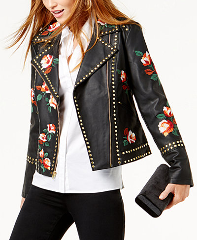 Anna Sui Loves INC International Concepts Embroidered Studded Faux-Leather Jacket, Created for Macy's