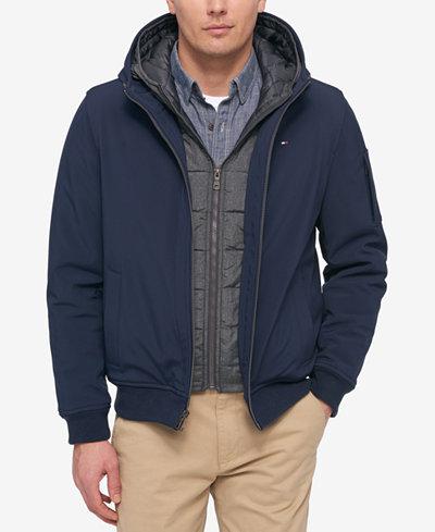 tommy hilfiger soft shell bomber hooded jacket coats. Black Bedroom Furniture Sets. Home Design Ideas