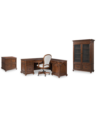Clinton Hill Cherry Home Office Furniture, 4-Pc. Set (L-Shaped Desk, Lateral File Cabinet, Door Bookcase & Desk Chair), Created for Macy's