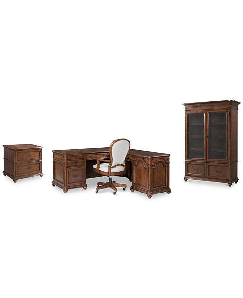 Strange Clinton Hill Cherry Home Office Furniture 4 Pc Set L Shaped Desk Lateral File Cabinet Door Bookcase Upholstered Desk Chair Created For Macys Home Interior And Landscaping Ologienasavecom