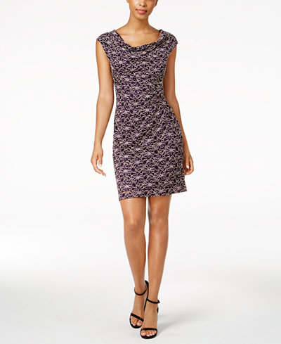 Connected Petite Sequined Lace Dress