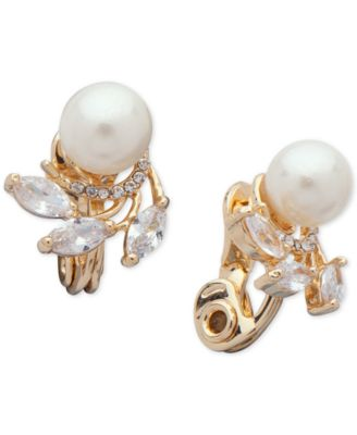 CLIP-ON EARRINGS 18K ROSE GOLD PLATED CUBIC ZIRCONIA /& PEARL JEWELLERY SET