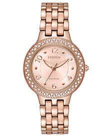 Citizen Eco-Drive Women's Rose Gold-Tone Stainless Steel Bracelet Watch 31mm