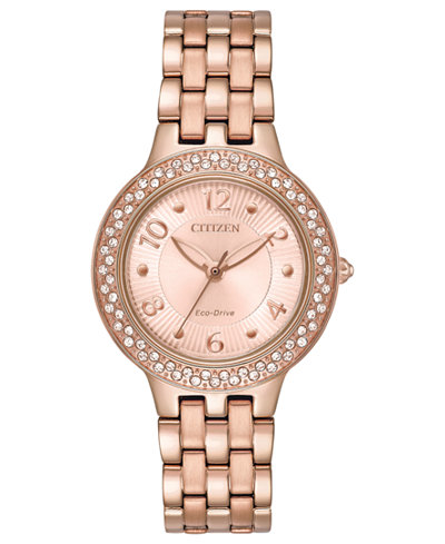 Citizen Eco-Drive Women's Rose Gold-Tone Stainless Steel Bracelet Watch 31mm