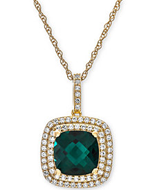 Lab-Created Emerald (1-1/3 ct. t.w.) & White Sapphire (1/3 ct. t.w.) Pendant Necklace in 14k Gold-Plated Sterling Silver