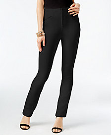 I.N.C. Faux-Leather-Trim Straight-Fit Pants, Created for Macy's