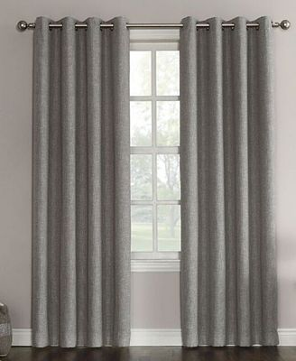 Sun Zero Gilby Woven Linen Texture Energy Efficient Curtain Panel, 52