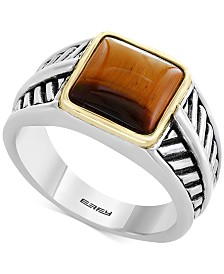 EFFY® Men's Tiger's Eye Ring in Sterling Silver