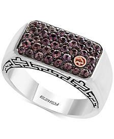 EFFY® Men's Brown Sapphire Cluster Ring (1-1/3 ct. t.w.) in Sterling Silver and 18k Gold