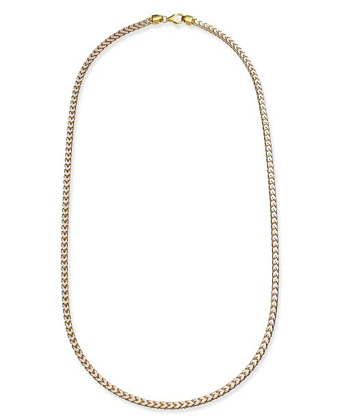 """Macy's 24"""" Two-Tone Franco Chain Necklace in Sterling Silver & 18k Gold-Plate"""