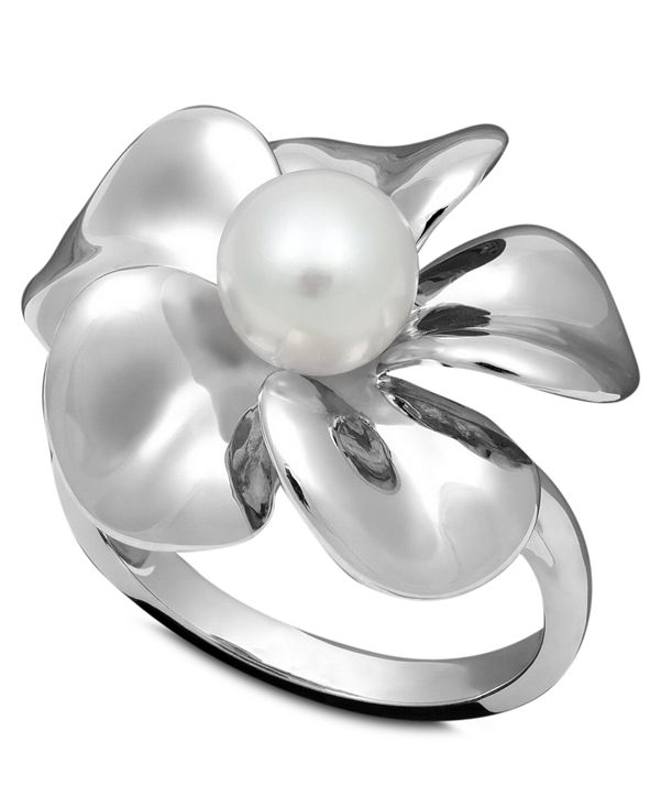 Macy's Pearl Ring, Sterling Silver Cultured Freshwater Pearl Flower Ring (7mm)