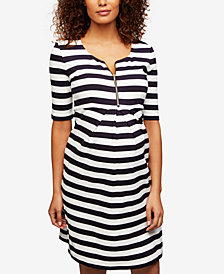 Isabella Oliver Maternity Striped A-Line Dress