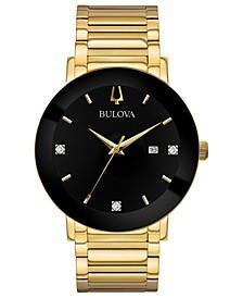 Men's Futuro Diamond Dress Diamond-Accent Gold-Tone Stainless Steel Bracelet Watch 42mm