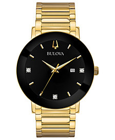 Bulova Men's Diamond Dress Diamond-Accent Gold-Tone Stainless Steel Bracelet Watch 42mm