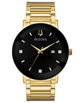 504c6632014 Bulova Men s Futuro Diamond Dress Diamond-Accent Gold-Tone Stainless Steel  Bracelet Watch 42mm