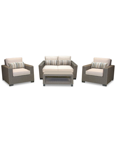 Del Mar 4-Pc. Set (1 Loveseat, 2 Club Chairs & 1 Coffee Table), Created for Macy's