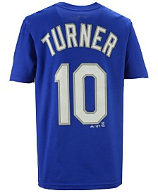 Majestic  Boys' Justin Turner Los Angeles Dodgers Official Player T-Shirt, Big Boys (8-20)