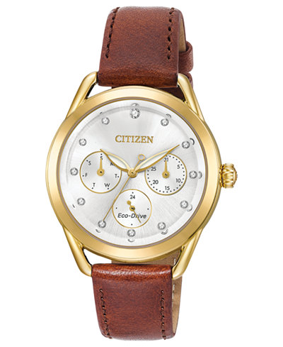 Citizen Drive from Citizen Eco-Drive Women's Brown Leather Strap Watch 38mm