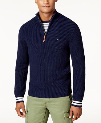 Tommy Hilfiger Mens Barney Knit Quarter Zip Sweater Created For