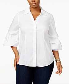 I.N.C. Plus Size Ruffled-Sleeve Shirt, Created for Macy's