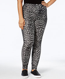 MICHAEL Michael Kors Plus Size Animal-Print Jeggings