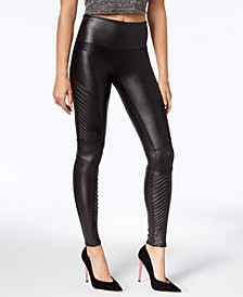 Petite Faux-Leather Moto Tummy Control Leggings