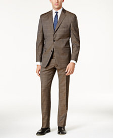Michael Kors Men's Classic-Fit Tan & Blue Plaid Suit