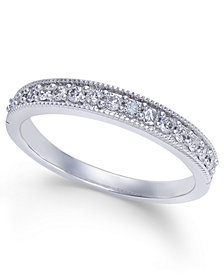 Diamond Millgrain Band (1/4 ct. t.w.) in 14k White Gold