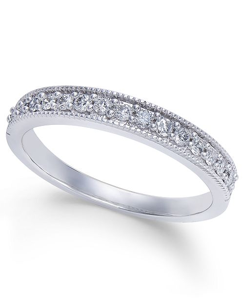 Macy's Diamond Millgrain Band (1/4 ct. t.w.) in 14k White Gold
