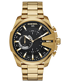 Diesel Men's Mega Chief Gold-Tone Stainless Steel Bracelet Hybrid Smart Watch 48mm