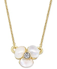 Gold-Tone Pavé & Mother-of-Pearl Flower Pendant Necklace