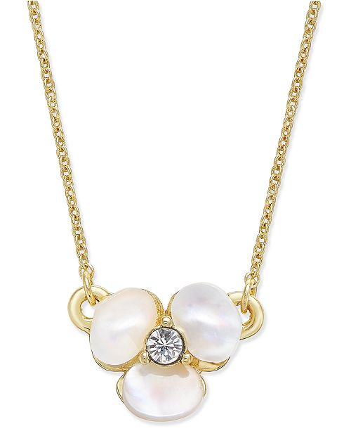 kate spade new york  Gold-Tone Pavé & Mother-of-Pearl Flower Pendant Necklace